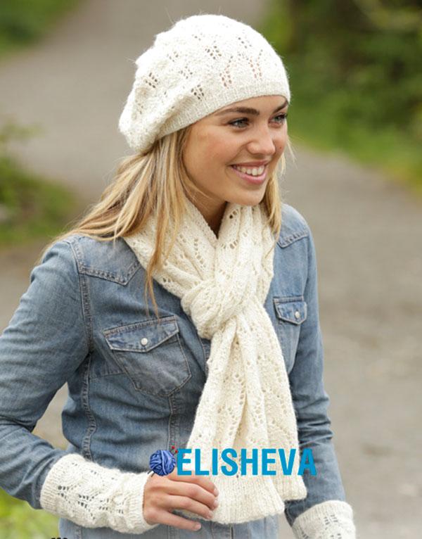 Вязаная шапка шарф минетки спицами