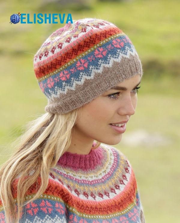 Женская шапка с жаккардовым узором от Drops Design вязаная спицами