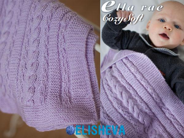 Плед для малыша от Ella Rae с узорами из жгутов и платочной вязки спицами
