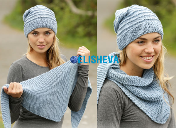 Простое вязание спицами: шапка и шаль спицами от Drops Design