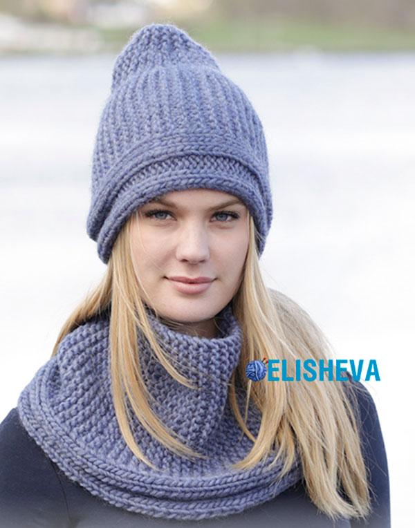 """Простой комплект """"Winter Shore"""" из снуда и шапки от Drops Design, вязаный спицами"""