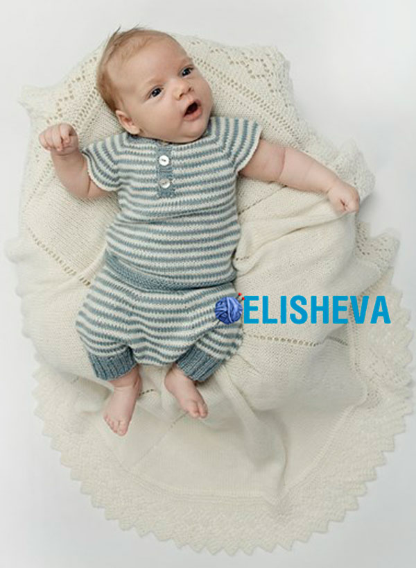 """Костюм """"Полосатик"""" для новорожденного и до 2 лет: штаники и кофточка вязаные спицами"""