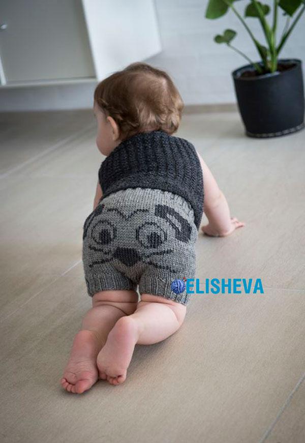 Шортики с мордочкой мышки для малыша на первом году жизни