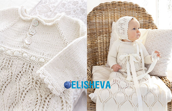 Белое вязаное платье спицами для крещения девочки, от рождения до 2 лет