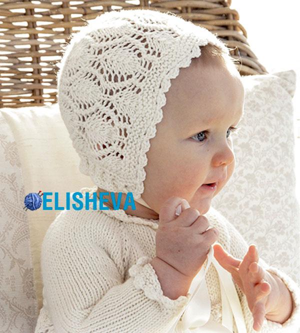 Ажурная шапочка для девочки вязаная спицами от Drops Design