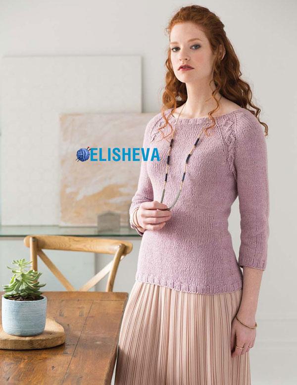 Пуловер с аранами по реглану от Vogue Knitting вязаный спицами