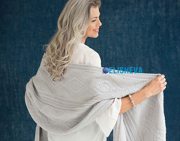 Палантин с узором «Диамант» от Vogue Knitting вязаный спицами
