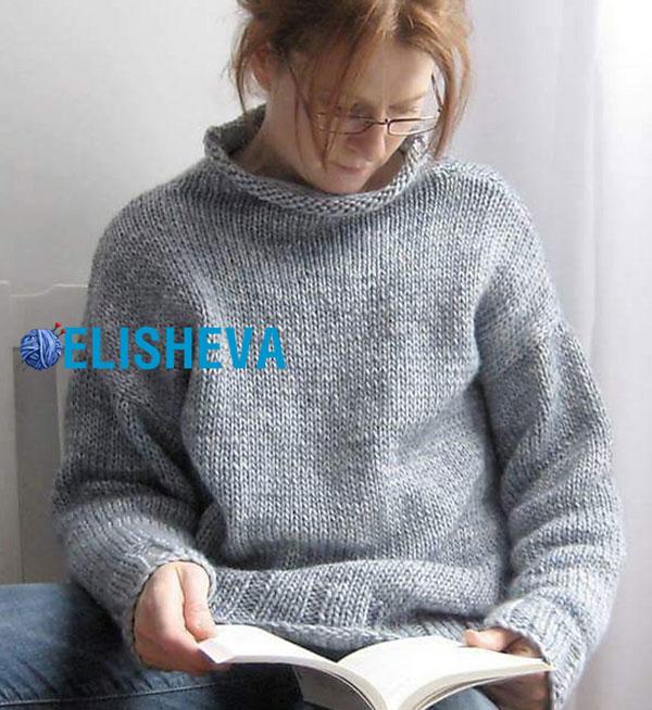 Простые удлинённые пуловеры вязаные спицами 2017 с описанием и видео