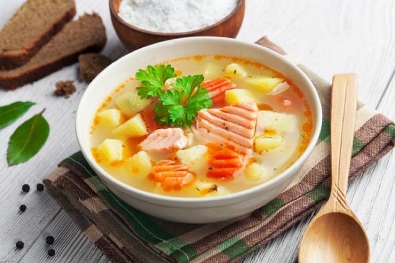 Суп из красной рыбы с яблоками + Видео