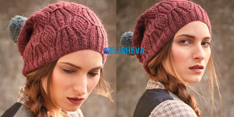 Вязанаяспицами шапка винного цвета из журнала Rowan