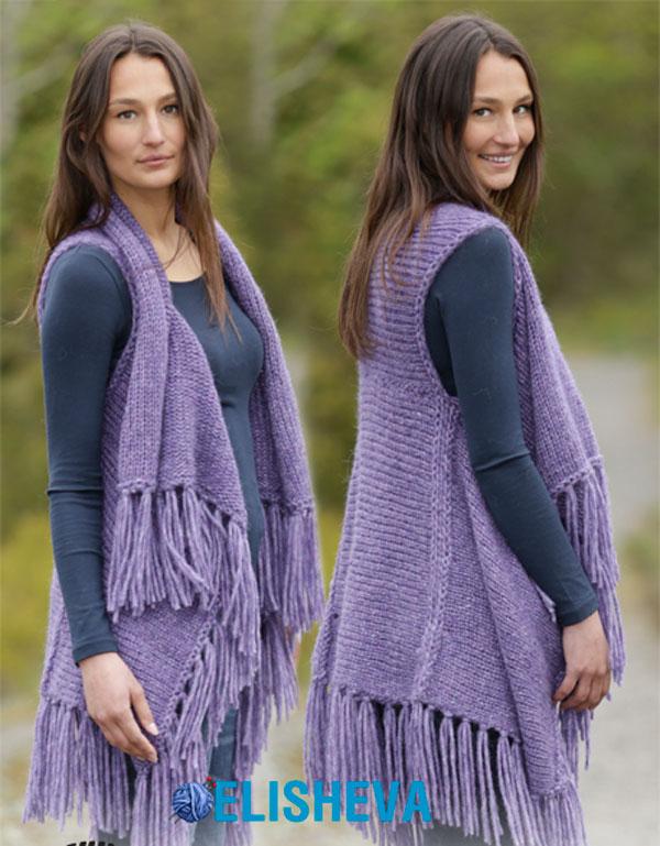 Красивый женский жилет от Drops Design с бахромой